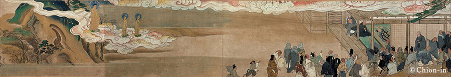 Illustrated Biography of Hōnen, Volume Thirty-Seven, Chapter Three The Amida Trinity (Amida, Kannon and Seishi) descend to greet Hōnen at the moment of his death.